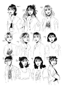 image description: eleven black-and-white sketches of jaylen from season 1 through season 13.